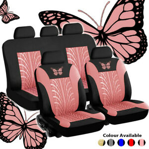 Set Steering Wheel Belt Pad Butterfly Printed Soft Universal Car Seat Covers