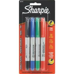 Sharpie Assorted Color Fine Ultra Fine Twin Tip Permanent Marker 4 pack