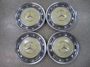 Set Of 4 Vintage 70s 80s Mercedes Benz Wheel Covers Chrome Yellow 15 1 4
