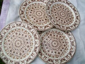 4 Antique 1870s T G F B Pottery Indian Ornament Brown White Ironstone Plates