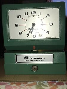 Acroprint Heavy Duty Time Clock Model 125 Manual 125nr4 Time Recorder Co New