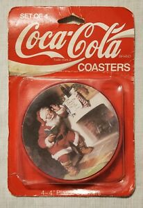 Vintage 1992 Coca-Cola Coasters Santa Claus Christmas/4 Designs New Nos Set of 4