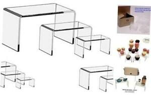 Flanicausa 9 Pieces Set Clear Acrylic Display Riser Set Acrylic Display Stand