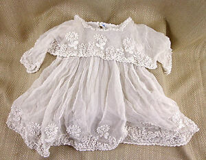 Antique Lace Gown Baptism Baby Dolls Clothes Raised Work Princess Lace