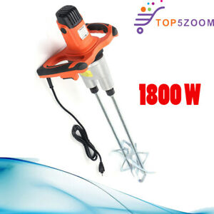 1800w Electric Plaster Cement Adhesive Render Paint Drywall Mortar Mixer Tool Us