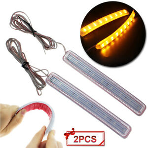 2x Yellow Soft 9 Smd Led For Car Side Mirror Turn Signal Indicator Light Us Fast