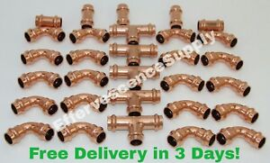 lot Of 30 3 4 Propress Copper Fitting 5 Tees 20 Elbows 5 Couplin