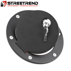 For 09 19 Dodge Ram 1500 2500 3500 Matte Blk Aluminum Fuel Gas Door Cover Lock