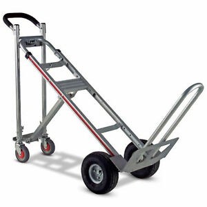 Magliner Tpauac 3 in 1 Aluminum Hand Truck With 10 Microcellular Wheels
