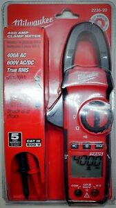Milwaukee 2235 20 400a 600v 2 Lead General Purpose Thin Jaw Clamp Multimeter
