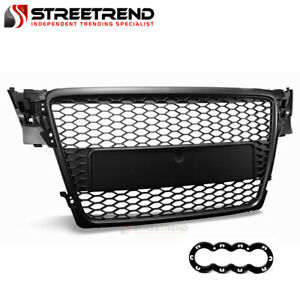 For 2009 2012 Audi A4 B8 Black Rs Honeycomb Mesh Front Hood Bumper Grill Grille