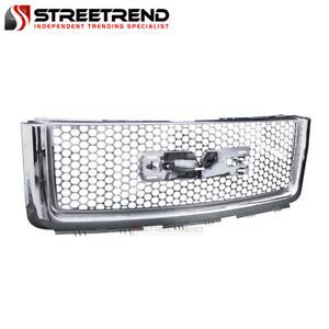 For 07 13 Gmc Sierra 1500 Chrome Round Hole Mesh Front Hood Bumper Grill Grille