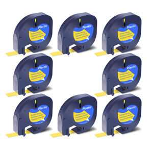 8x Black On Yellow Tape Label For Dymo Letra Tag Lablemaker Lt 91332 12mm 1 2