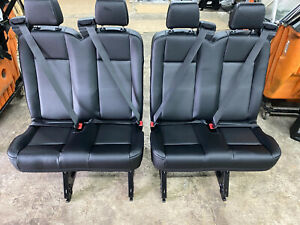 2015 2019 Ford Transit Van 4 Person Bench 2 Double Seats Black Vinyl Rear Row