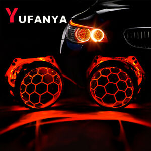 3 0 Blue Bi Xenon Honeycomb Projector Hid Lens Red Devil Eyes Headlights Diy