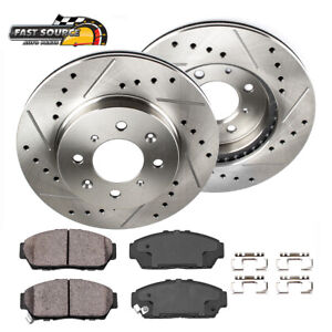 For Honda Civic Fit Front Drilled Slotted Brake Rotors And Ceramic Pads