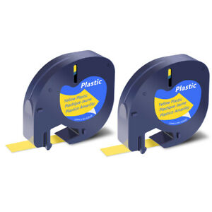 2x Black On Yellow Tape Label For Dymo Letra Tag Lablemaker Lt 91332 12mm 1 2