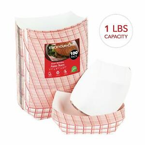Stock Your Home Paper Food Boats 100 Pack Disposable Checkered Tray 1 Lb