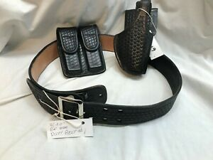 Duty Belt 1 Police security tactical Holster Mag Pouch Sz 36 Blk Leather