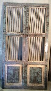 Antique Architectural Salvaged Wood Iron Doors Wine Cellar Doors