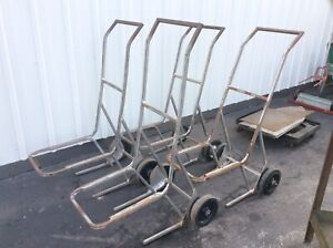 4 Vintage Steel Stacking Chair Carts On Wheels Very Good