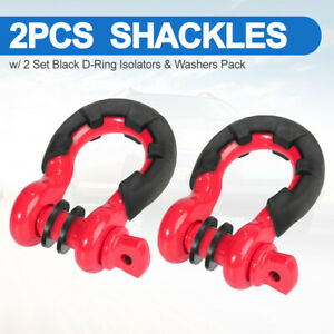 2pcs 3 4 D ring Bow Shackle W black Isolator Washers Pin Tow Strap 10500lbs Red