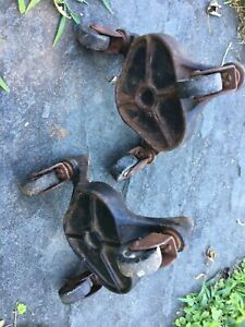 2 Antique Cast Iron Tripod Dolly Caster Wheels Stove Piano Moving Bassick 900
