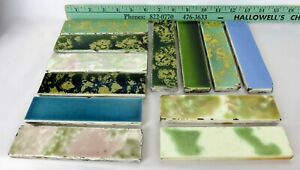 Lot Of 12 Antique Victorian Fireplace Tile Marked Old Bridge Trent Ohio See Pics