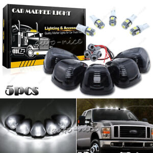 5x Smoke Cab Marker Light W White Led Assembly Wiring Fits 99 16 Ford 250 550