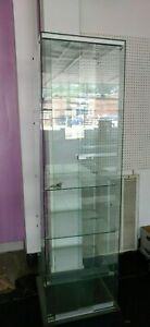 Tall Glass Retail Display Case Retail Jewelry Display With Lock