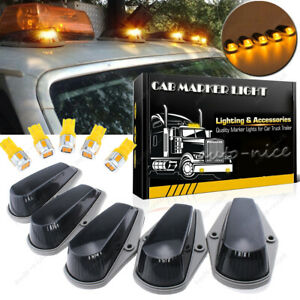 5x Smoke Cab Roof Marker Light Covers W Amber Led For Ford F 73 97 Super Duty
