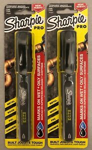 Lot Of 2 Brand New Sharpie Pro Permanent Fine Tip Black Markers Free Shipping