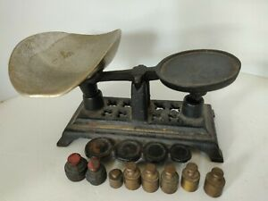 Vintage Small Mini Miniature Balance Scale Cast Iron With Scoop