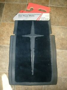 New Nos Vtg Sears Twin Front Deep Plush Carpeted Rubber Car Floor Mats Blue