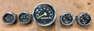 Vintage Stewart Warner Set Of 5 Gauges Marked Unmarked Hot Rod Rat Rod