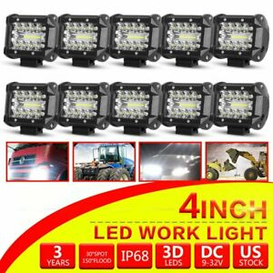 10x 4inch Led Work Light Pods 3 rows Spot Flood Offroad Reverse Atv Driving Cube