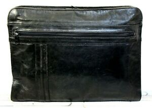 Vtg 11 x14 Black Genuine Leather Double Zip Top Attache Organizer Paper Holder