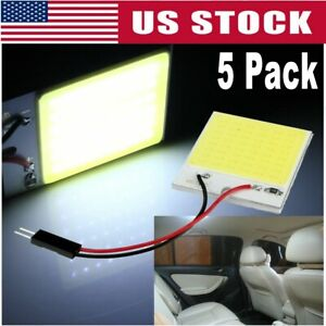 5x White 48 Smd Cob Led T10 4w 12v Car Interior Panel Light Dome Lamp Bulb Us