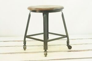 Antique Vintage Industrial Stool Angle Steel Stool Co Lab Stool Metal Oak Stoo
