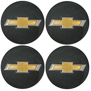 4 Genuine Oem Factory Center Caps Chevy Bow Tie Emblem Logo Gray Finish 2 In