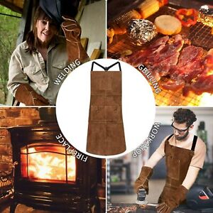 Leather Welding Welder Apron gloves Blacksmith Mechanic Protective Working Gear