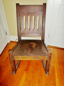 Antique Mission Arts Crafts Oak Rocking Chair Gustav Stickley Limbert Style