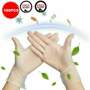 100 Pcs Transparent Elastic Rubber Cleaning Hand Gloves Large Powder Latex Free