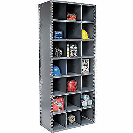 54 Compartment Steel Storage Bin Cabinet With Plastic Dividers 36x18x85