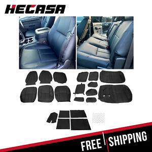 For 07 08 09 10 11 12 13 Chevy Silverado Crew Synthetic Leather Seat Cover Set