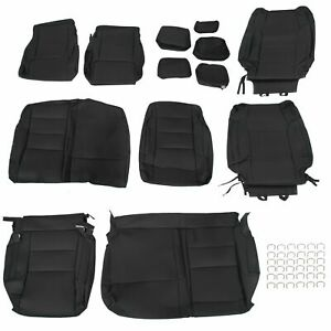 For 2014 2020 Toyota Tundra Double Cab Synthetic Leather Seat Covers Kit Black