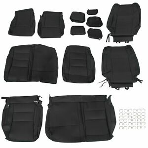 For 2014 2020 Toyota Tundra Double Cab Leather Seat Covers Full Kit Black