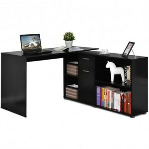 Rotating L shape Corner Writing Study Computer Desk black