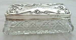 Antique Art Nouveau Sterling Silver Lid Jewelry Trinket Vanity Box Victorian