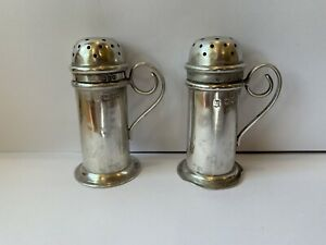 1898 Josiah Williams Co Antique England Sterling Silver Salt Pepper Shakers